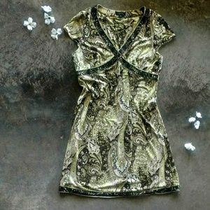 Tahari ASL Lime & Chocolate Paisley Dress 16